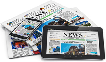 news articles on tablet
