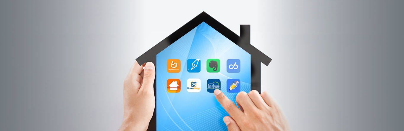 person looking at apps on a house-shaped tablet